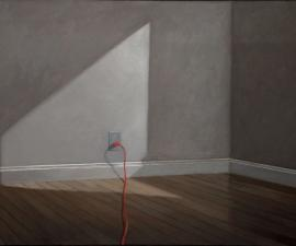 """Room with Red Electric Cord"", 2016 -18, oil on canvas, 40"" x 66"""